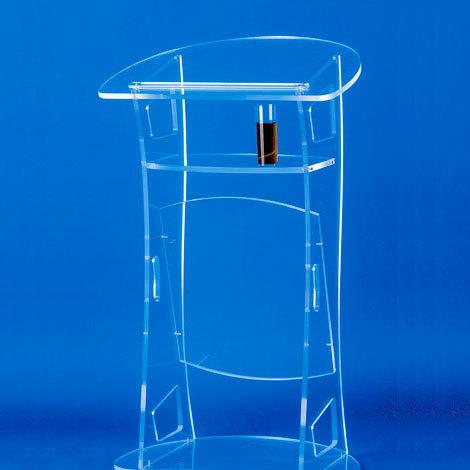 Pupitre de conférence plexiglass (sans micro), avec 2 embases XLR